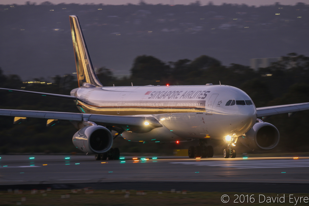 9V-STB Airbus A330-343X (MSN 983) of Singapore Airlines, at Perth Airport - Tue 17 May 2016. Flight SQ224 to Singapore, about to line-up for take-off on runway 03 at 6:39am. Photo © David Eyre