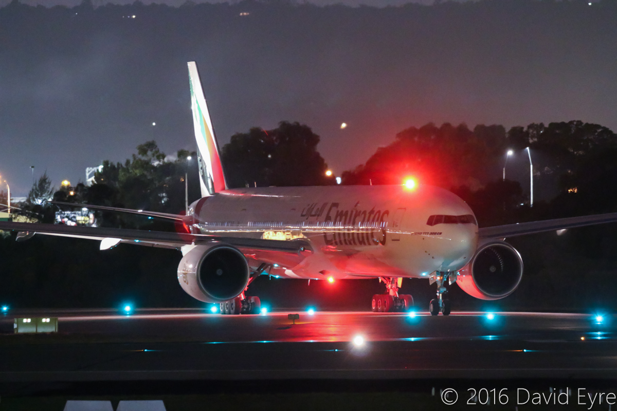 A6-EPF Boeing 777-31H (ER) (MSN 42325/1352) of Emirates, at Perth Airport – Tue 17 May 2016. Flight EK424 to Dubai, about to line-up on runway 03 at 6:08am for take-off. Photo © David Eyre