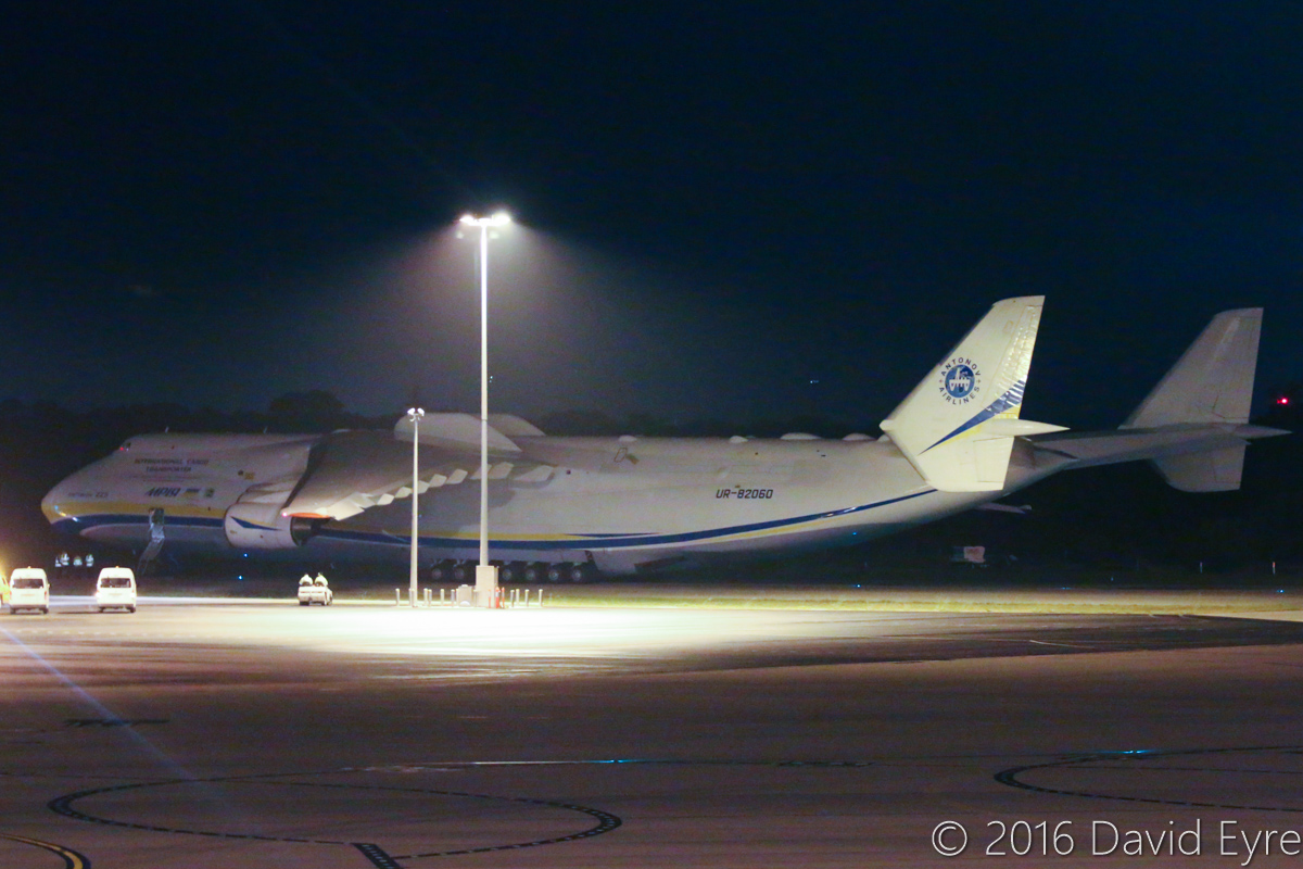 UR-82060 Antonov An-225 Mriya (MSN 19530503763/01-01) of Antonov Airlines (Antonov Design Bureau) at Perth Airport - Tue 17 May 2016. First visit by the An-225 to Australia. Seen here at 4:59AM, parked at Bay 162, with a relatively small cargo onboard, getting ready to depart as ADB3655 direct to Dubai World Centre. Photo © David Eyre