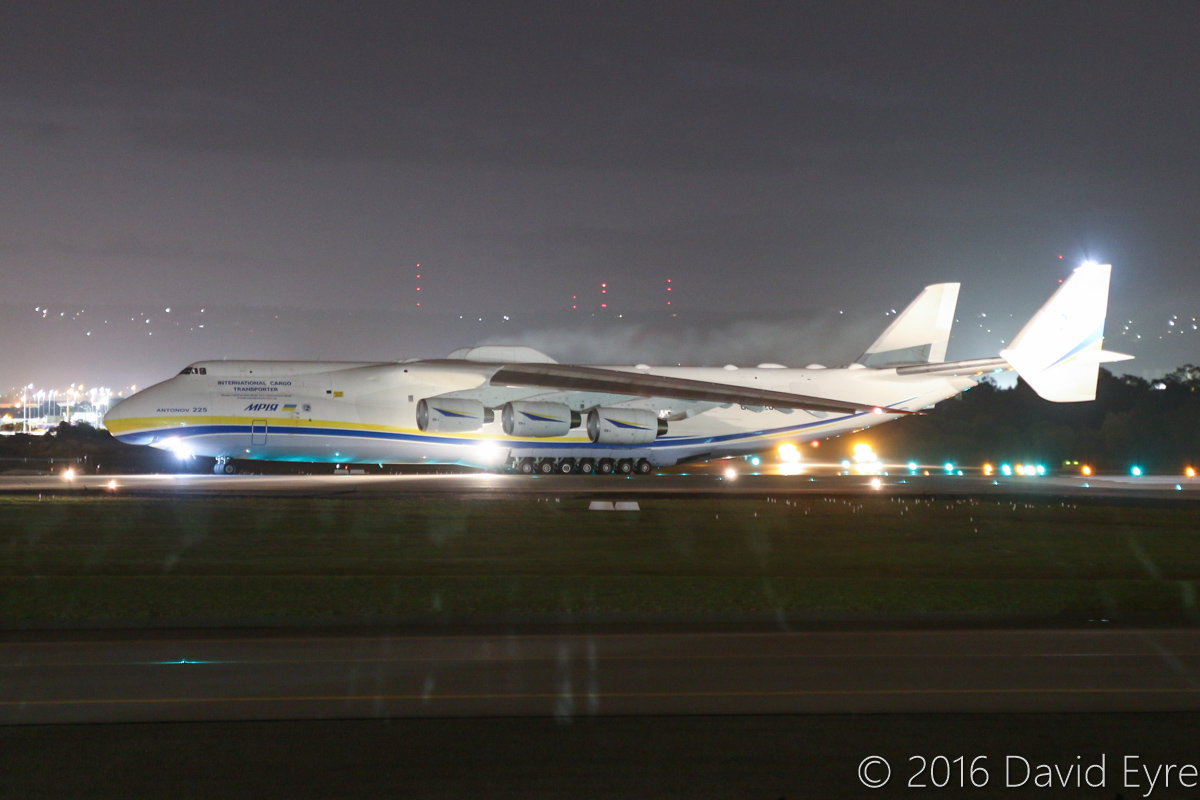 UR-82060 Antonov An-225 Mriya (MSN 19530503763/01-01) of Antonov Airlines (Antonov Design Bureau) at Perth Airport - Tue 17 May 2016. First visit by the An-225 to Australia. Seen here at 5:56AM, running up the engines on runway 03, prior to taking off at 5:59AM as ADB3655 direct to Dubai World Centre. Photo © David Eyre