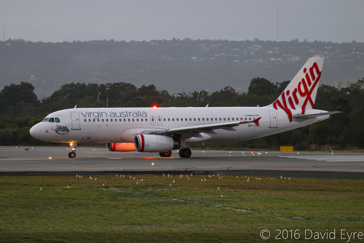 VH-YUD Airbus A320-232 (MSN 1922) of Virgin Australia Regional Airlines, named 'Port Beach', at Perth Airport - Tue 17 May 2016. FIFO flight VA9337 to Coondewanna, about to take off from runway 03 at 6:53AM. Photo © David Eyre