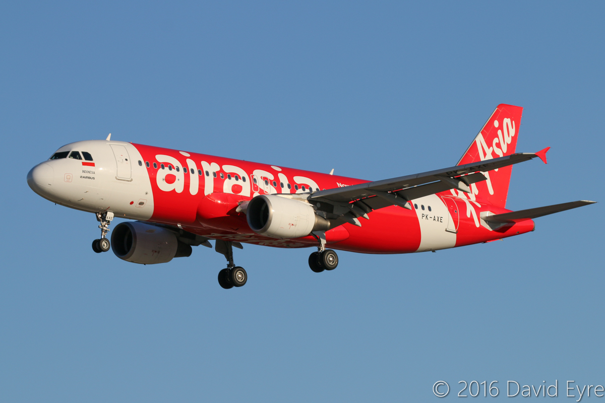 PK-AXE Airbus A320-216 (MSN 3715) of Indonesia AirAsia, at Perth Airport – Sun 15 May 2016. Now wearing the newer AirAsia livery. Flight QZ544 from Denpasar, on final approach to runway 06 at 4:22pm. Photo © David Eyre