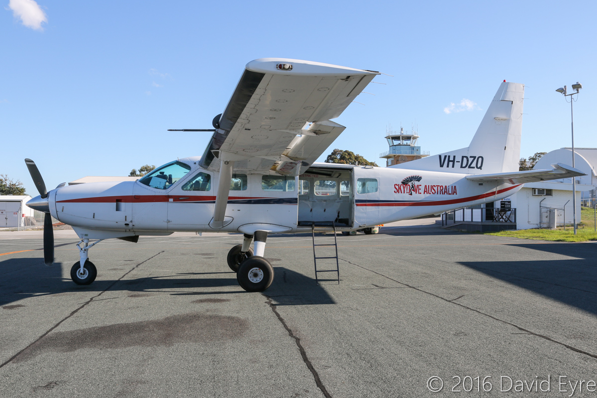 VH-DZQ Cessna 208 Caravan (MSN 20800181) operated by Skydive the Beach Group Ltd, North Wollongong, NSW, at Jandakot Airport - Fri 27 May 2016. Used for skydiving operations out of Murray Field, near Mandurah. Built in 1990, ex N9762F. Photo © David Eyre