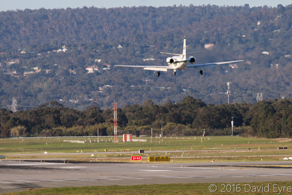 VH-EJY Cessna 550 Citation II (MSN 550-0141) operated by Maxem Aviation (leased from Executive Jet Charter Pty Ltd, Yarrawonga, Qld) at Perth Airport - Fri 27 May 2016. Seen on final approach to runway 06 at 3:49pm, on a flight from Tropicana gold mine, in the Goldfields region of WA. VH-EJY was built in 1980, ex N26461, VH-ING, VH-INX. Photo © David Eyre