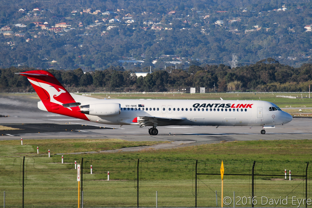 VH-NHK Fokker 100 (MSN 11465) of QantasLink, at Perth Airport – Fri 27 May 2016. Lining up on runway 06 at 3:53pm for take-off on a flight to Broome. Photo © David Eyre