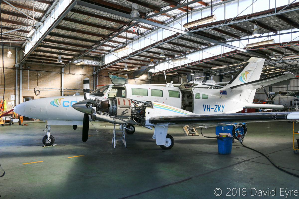 VH-ZKY Reims Cessna F406 Caravan II (MSN F4060043) of CGG Aviation Australia Pty Ltd, at Jandakot Airport - Fri 27 May 2016. Used for geophysical survey work and fitted with tail-mounted magnetometer 'stinger'. Built in 1990, ex ZS-SSE, F-WQUD, D-INUS, F-WQUD. Photo © David Eyre