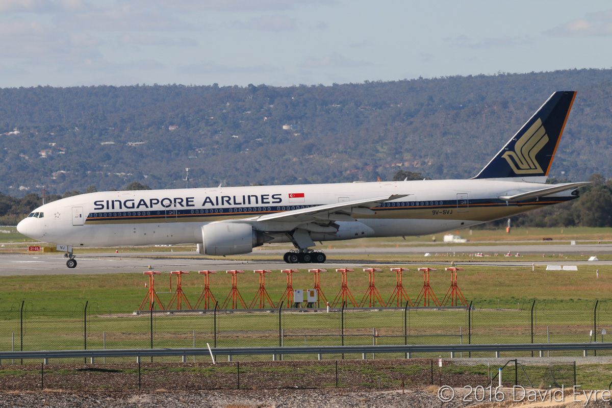 9V-SVJ Boeing 777-212ER (MSN 32335/415) of Singapore Airlines at Perth Airport – Mon 30 May 2016. Flight SQ226 to Singapore, lining up for take-off from runway 06 at 2:10 pm, due to runway 03/21 being closed for upgrades to runway lighting. Photo © David Eyre