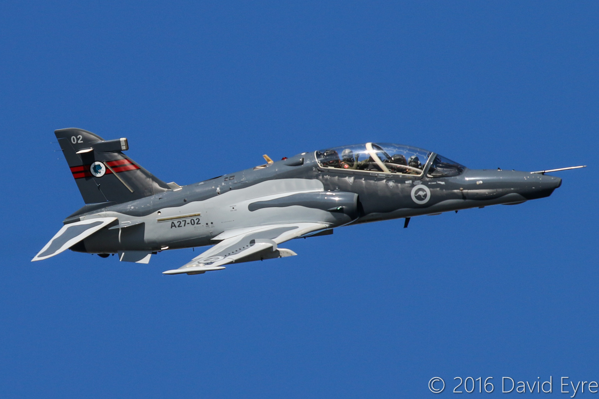 A27-02 BAE Systems Hawk 127 (MSN DT02/1202) of 79 Squadron, (wearing 76 Squadron markings) based at RAAF Base Pearce, over the Swan River, Perth city - Mon 30 May 2016. Flying past Langley Park prior to a flypast at 500 feet and 400 knots (740 km/h) over the War Memorial at Kings Park, for US Memorial Day. Built at Warton, UK by BAE, first flight 13.5.2000 as ZJ633. Delivered to Australia 23.9.2000. Photo © David Eyre