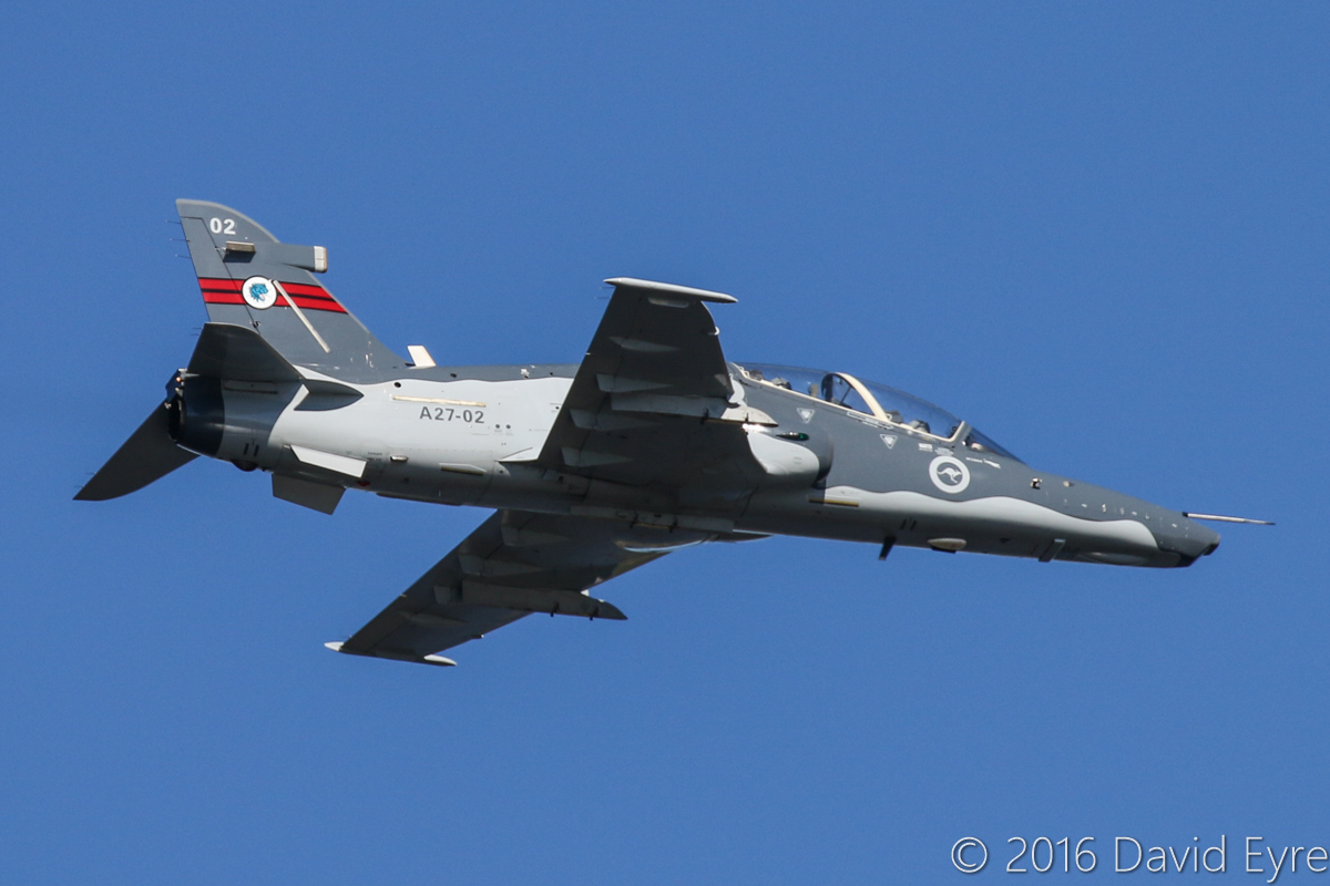 A27-02 BAE Systems Hawk 127 (MSN DT02/1202) of 79 Squadron, (wearing 76 Squadron markings) based at RAAF Base Pearce, over the Swan River, Perth city - Mon 30 May 2016. Flying near Langley Park at 11:03am prior to a flypast at 500 feet and 400 knots (740 km/h) over the War Memorial at Kings Park, for US Memorial Day. Built at Warton, UK by BAE, first flight 13.5.2000 as ZJ633. Delivered to Australia 23.9.2000. Photo © David Eyre