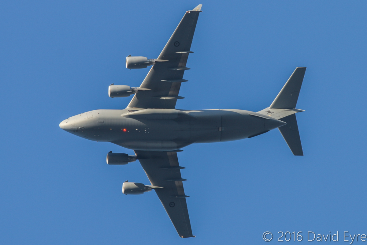 A41-213 Boeing C-17A Globemaster III (MSN 50272/F271/AUS8) of 36 Squadron, Royal Australian Air Force, at Perth Airport - Mon 30 May 2016. 'STALLION 40' passing over Perth on its way to Pearce at 4:27pm. Photo © David Eyre