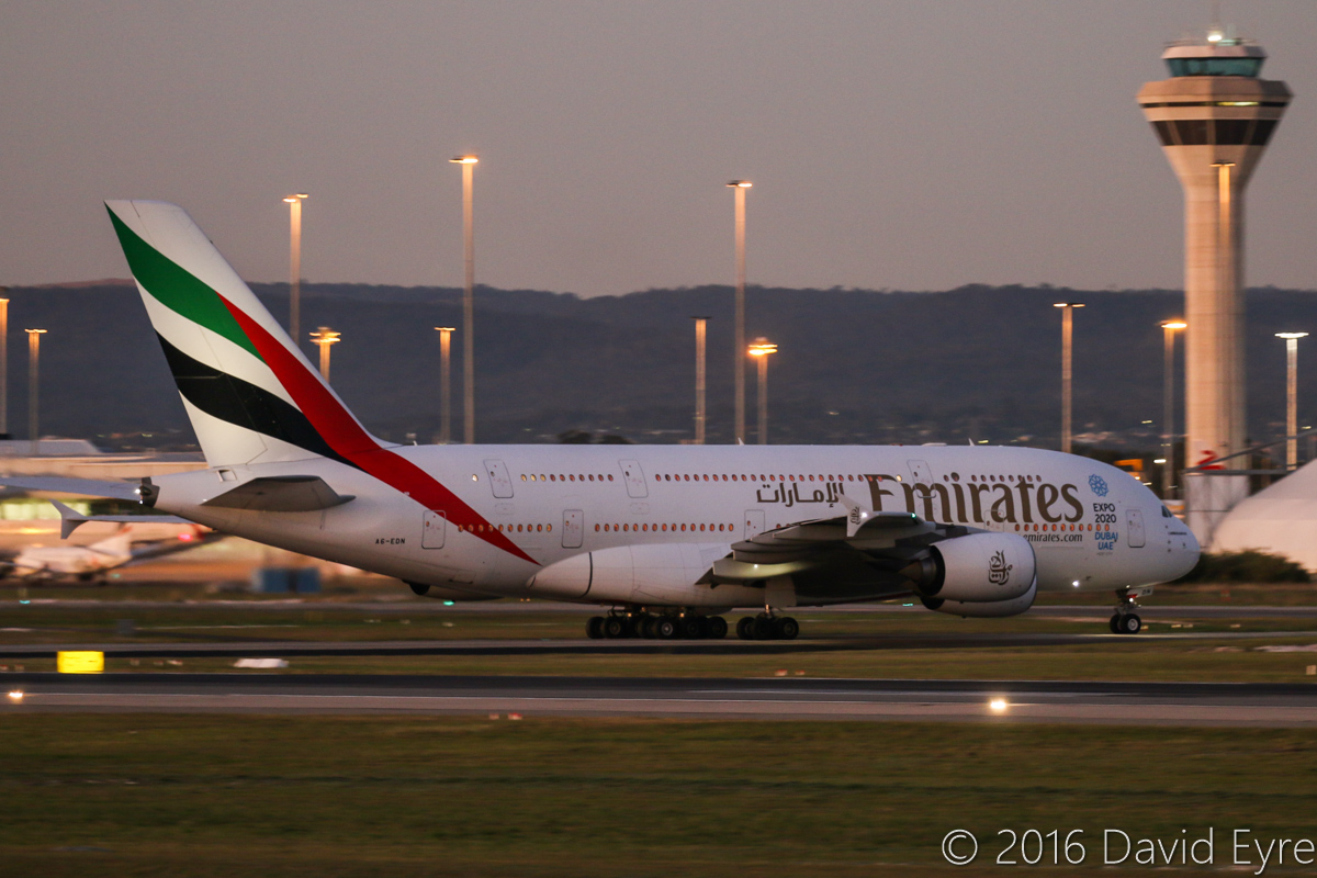A6-EDN Airbus A380-861 (MSN 056) of Emirates, at Perth Airport - Mon 30 May 2016. Flight EK420 from Dubai, taxying off at taxiway A9 after landing on runway 21 at 5:39pm. Photo © David Eyre