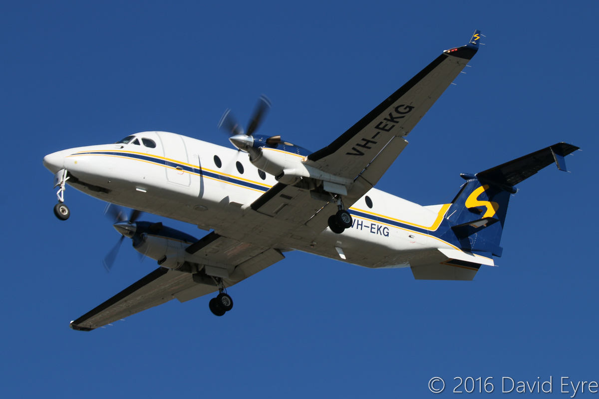 VH-EKG Beech 1900D (MSN UE-135, ex N135YV, ZS-SSY) owned by Shine Aviation, of Geraldton, WA, at Perth Airport - Mon 30 May 2016. Landing on runway 06 at 2:12pm, arriving from Geraldton. Photo © David Eyre