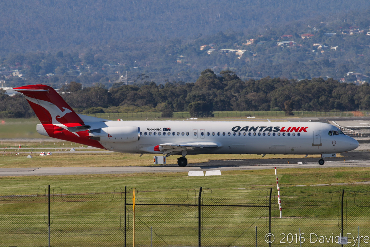 VH-NHC Fokker 100 (MSN 11481) of QantasLink (Network Aviation), at Perth Airport - Mon 30 May 2016. Lining up on runway 06 at 2:16pm for take-off on a flight to Port Hedland. Photo © David Eyre