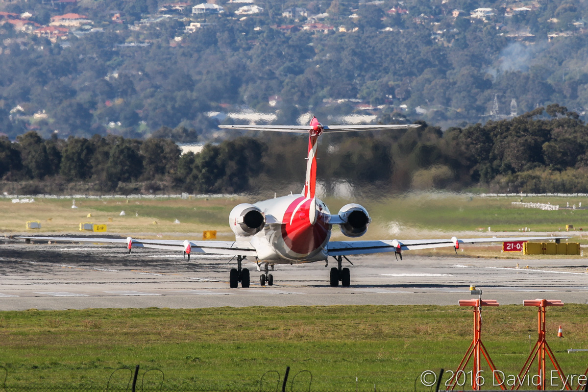 VH-NHC Fokker 100 (MSN 11481) of QantasLink (Network Aviation), at Perth Airport - Mon 30 May 2016. Taking off from runway 06 at 2:17pm for a flight to Port Hedland. Photo © David Eyre