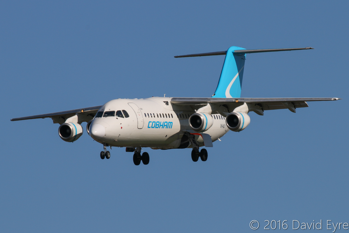 VH-NJY BAE Systems Avro RJ100 (MSN E3331) of Cobham Aviation at Perth Airport - Mon 30 May 2016. 'JETEX 1995' from Barrow Island, on final approach to runway 06 at 11:28am. Photo © David Eyre