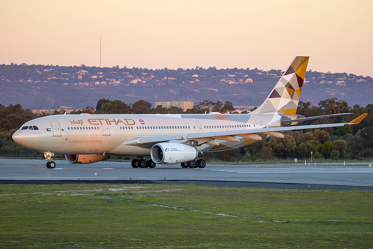 A6-EYI Airbus A330-243 (MSN 730) of Etihad, at Perth Airport – 1 June 2016. Making the final scheduled flight to Perth by an Etihad A330, lining up for departure at 5:10 pm. Photo © Keith Anderson (Photographed using Canon cameras and lenses)
