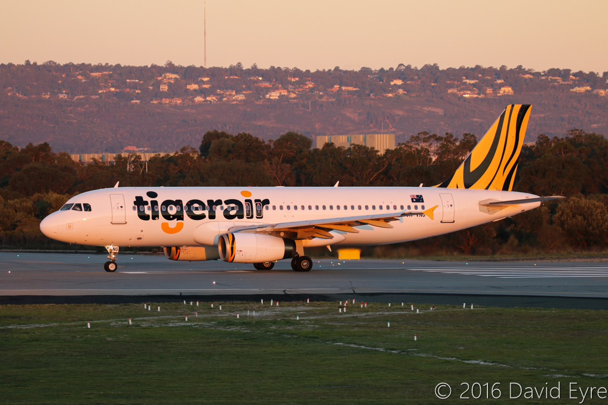 VH-VNG Airbus A320-232 (MSN 3674) of Tigerair Australia, at Perth Airport - Wed 1 June 2016. Flight TT416 to Melbourne, taking off from runway 03 at 5:11pm. Photo © David Eyre