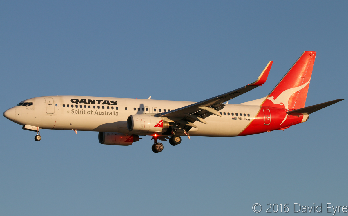 VH-VXM Boeing 737-838 (MSN 33483/1177) of Qantas, named 'Mount Hotham', at Perth Airport - Wed 1 June 2016. QF1073 from Broome, landing on runway 06 at 4:35pm. Photo © David Eyre