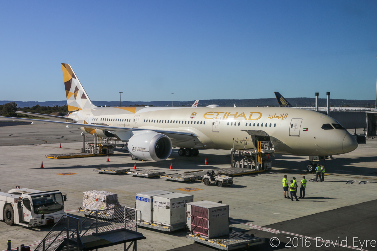 A6-BLG Boeing 787-9 Dreamliner (MSN 39652/432) of Etihad, at Perth Airport - Thu 2 June 2016. A6-BLG's first visit to Perth, and the beginning of regular Boeing 787-9 Dreamliner services to Perth by Etihad, replacing Airbus A330-200s. Flight EY486 from Abu Dhabi is parked at Bay 150 at 1:57pm. Photo © David Eyre