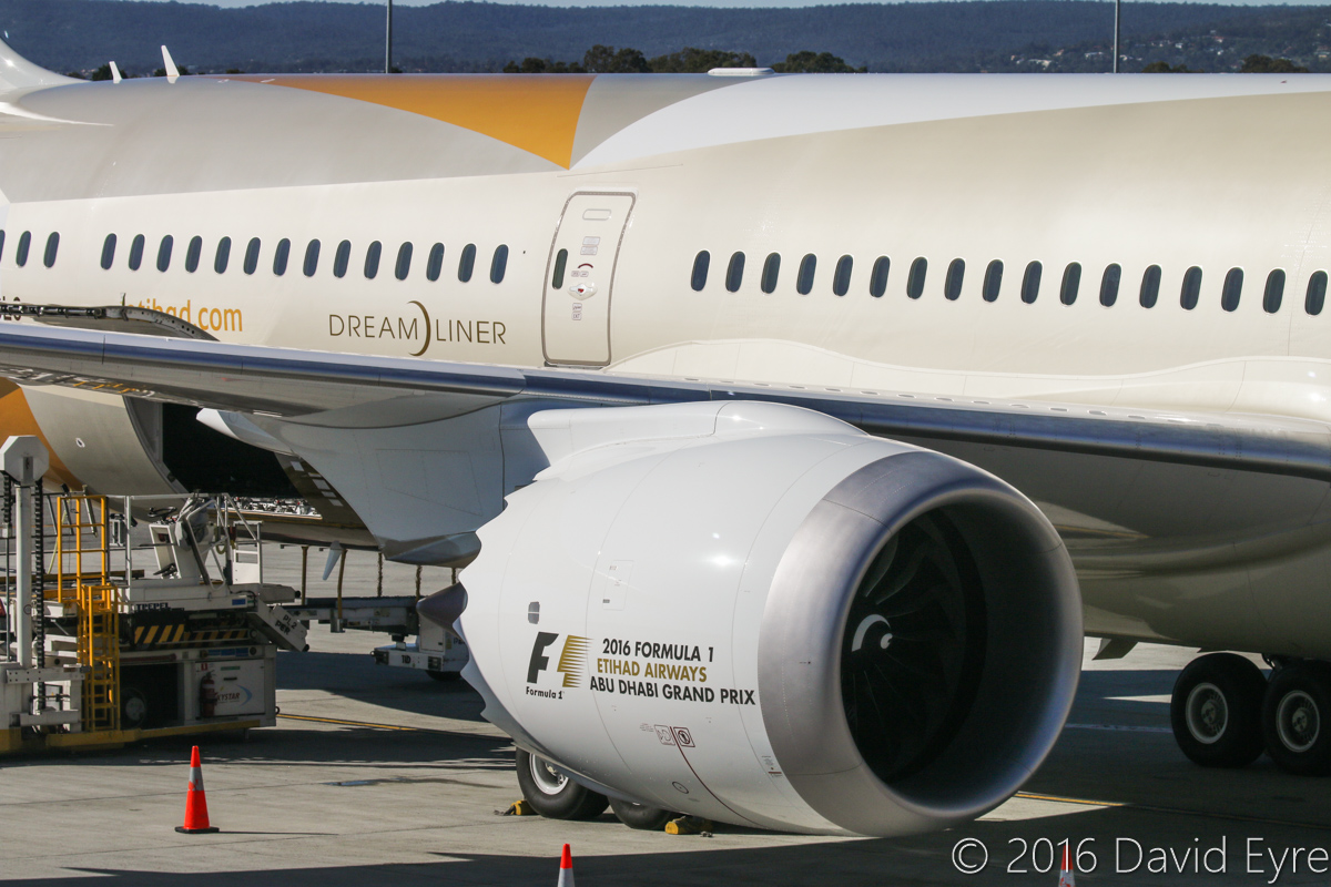 A6-BLG Boeing 787-9 Dreamliner (MSN 39652/432) of Etihad, at Perth Airport - Thu 2 June 2016. A6-BLG's first visit to Perth, and the beginning of regular Boeing 787-9 Dreamliner services to Perth by Etihad, replacing Airbus A330-200s. Close-up of one of the General Electric GEnx-1B turbofan engines. Flight EY486 from Abu Dhabi is parked at Bay 150 at 1:58pm. Photo © David Eyre