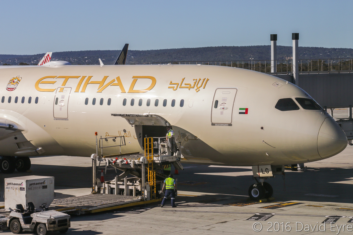A6-BLG Boeing 787-9 Dreamliner (MSN 39652/432) of Etihad, at Perth Airport - Thu 2 June 2016. A6-BLG's first visit to Perth, and the beginning of regular Boeing 787-9 Dreamliner services to Perth by Etihad, replacing Airbus A330-200s. Flight EY486 from Abu Dhabi is parked at Bay 150 at 2:06pm. Photo © David Eyre