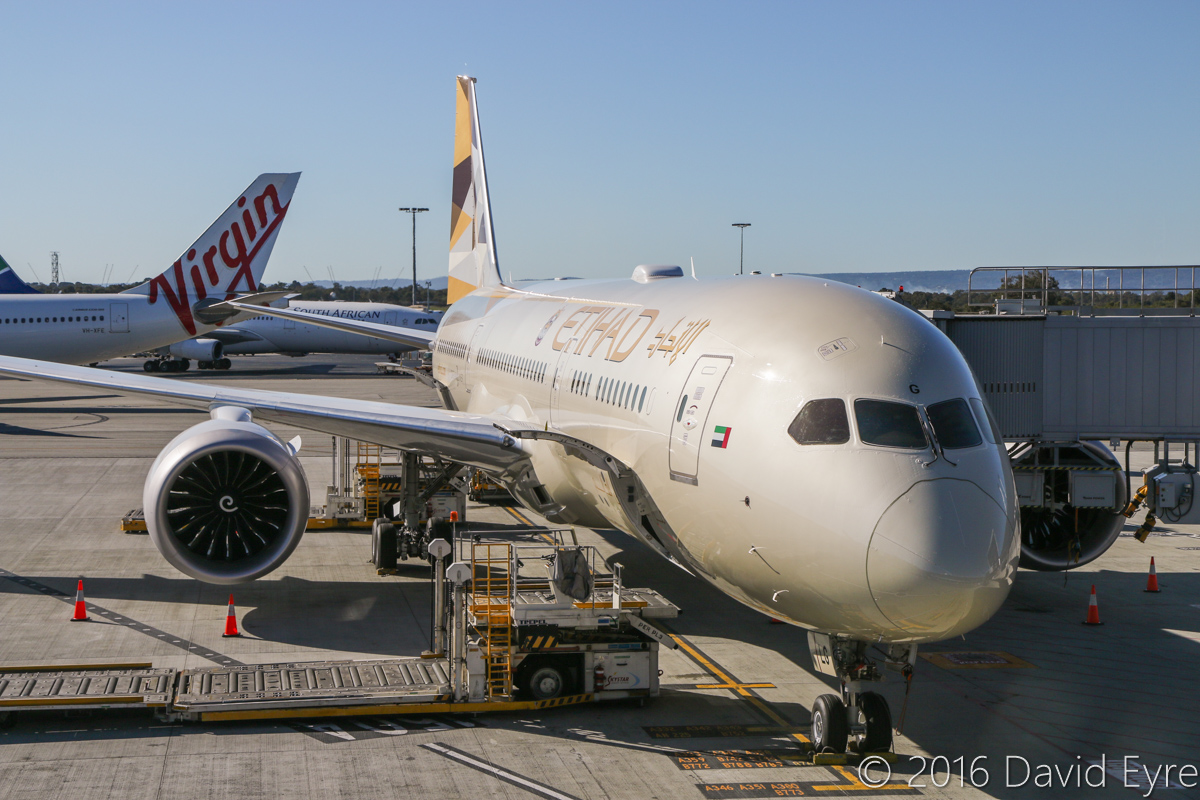 A6-BLG Boeing 787-9 Dreamliner (MSN 39652/432) of Etihad, at Perth Airport - Thu 2 June 2016. A6-BLG's first visit to Perth, and the beginning of regular Boeing 787-9 Dreamliner services to Perth by Etihad, replacing Airbus A330-200s. Flight EY486 from Abu Dhabi is parked at Bay 150 at 2:12pm. Photo © David Eyre