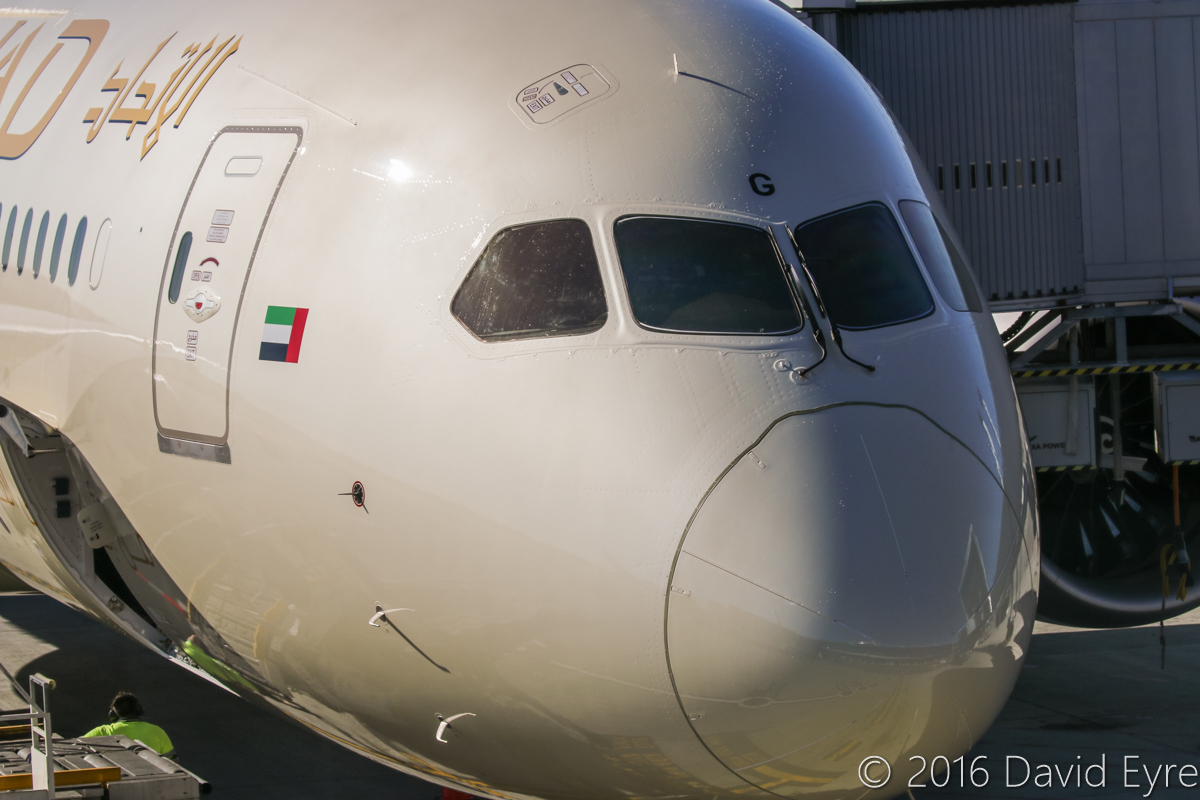 A6-BLG Boeing 787-9 Dreamliner (MSN 39652/432) of Etihad, at Perth Airport - Thu 2 June 2016. A6-BLG's first visit to Perth, and the beginning of regular Boeing 787-9 Dreamliner services to Perth by Etihad, replacing Airbus A330-200s. Flight EY486 from Abu Dhabi is parked at Bay 150 at 2:13pm. Photo © David Eyre