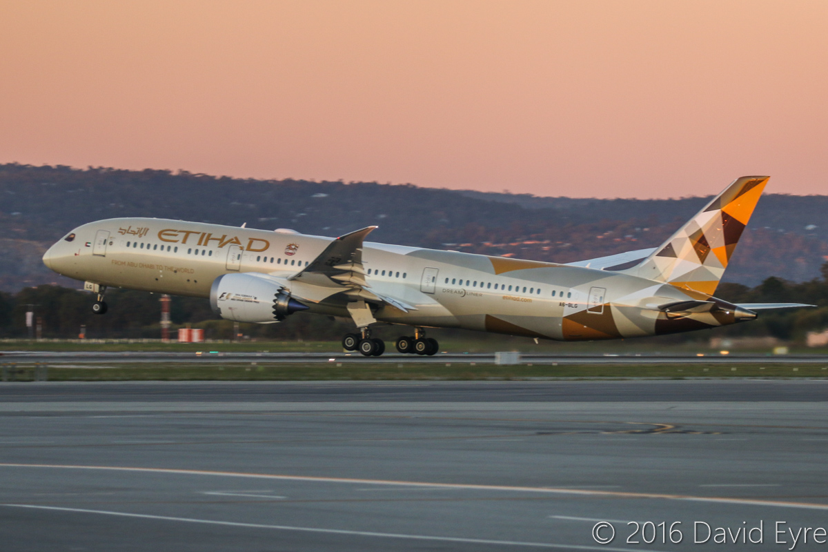 A6-BLG Boeing 787-9 Dreamliner (MSN 39652/432) of Etihad, at Perth Airport - Thu 2 June 2016. A6-BLG's first visit to Perth, and the beginning of regular Boeing 787-9 Dreamliner services to Perth by Etihad, replacing Airbus A330-200s. Flight EY487 to Abu Dhabi is seen taking off from runway 03 at 5:16pm. Photo © David Eyre