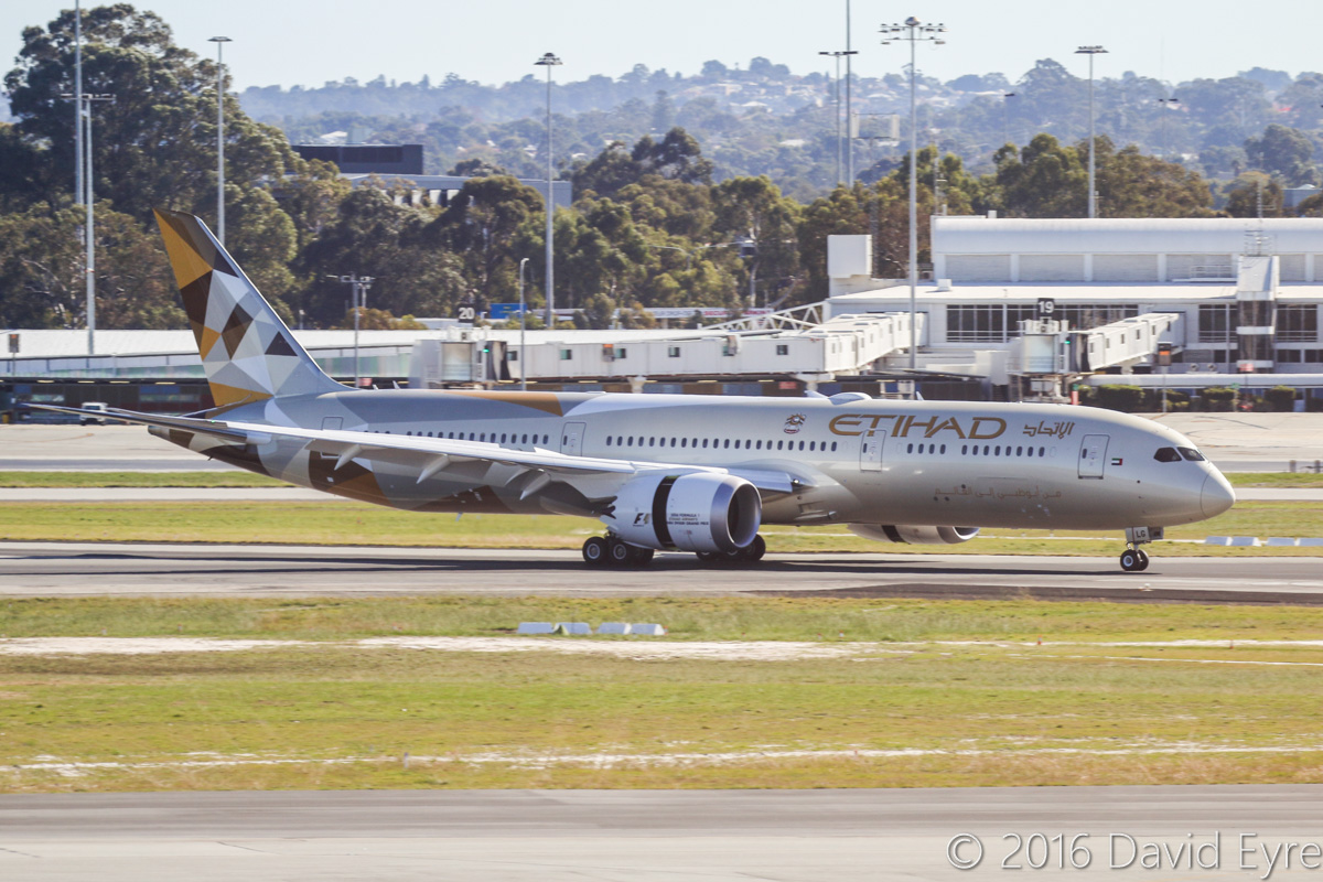 A6-BLG Boeing 787-9 Dreamliner (MSN 39652/432) of Etihad, at Perth Airport - Thu 2 June 2016. A6-BLG's first Visit to Perth, and the beginning of regular Boeing 787-9 Dreamliner services to Perth by Etihad. This aircraft first flew on 8 May 2016 and was delivered on 27 May 2016, a few days before this photo. Flight EY486 is seen landing on runway 06 at 1:23pm. Photo © David Eyre