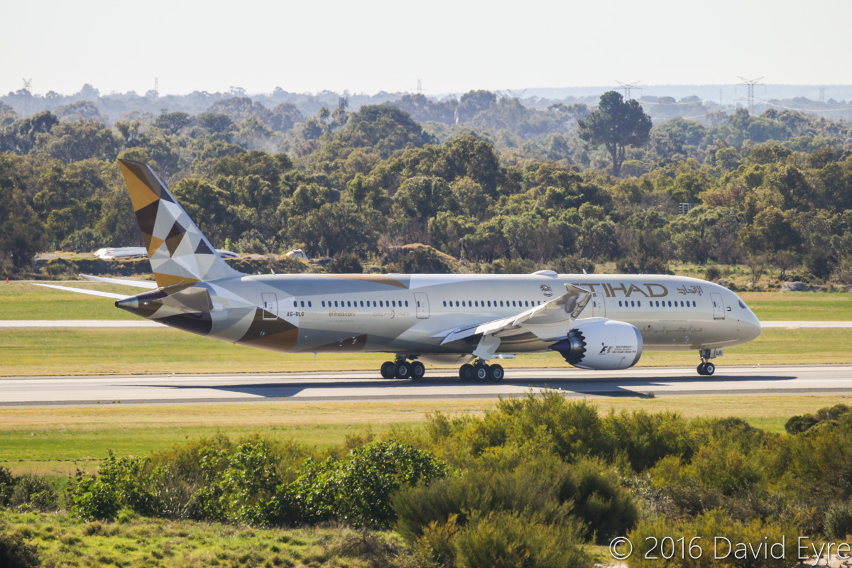 A6-BLG Boeing 787-9 Dreamliner (MSN 39652/432) of Etihad, at Perth Airport - Thu 2 June 2016. A6-BLG's first Visit to Perth, and the beginning of regular Boeing 787-9 Dreamliner services to Perth by Etihad. This aircraft first flew on 8 May 2016 and was delivered on 27 May 2016, a few days before this photo. Flight EY486 is seen landing on runway 06 at 1:23pm - it continued the full length of the runway, then taxied left on taxiway W, then via taxiway C to taxiway S. Photo © David Eyre