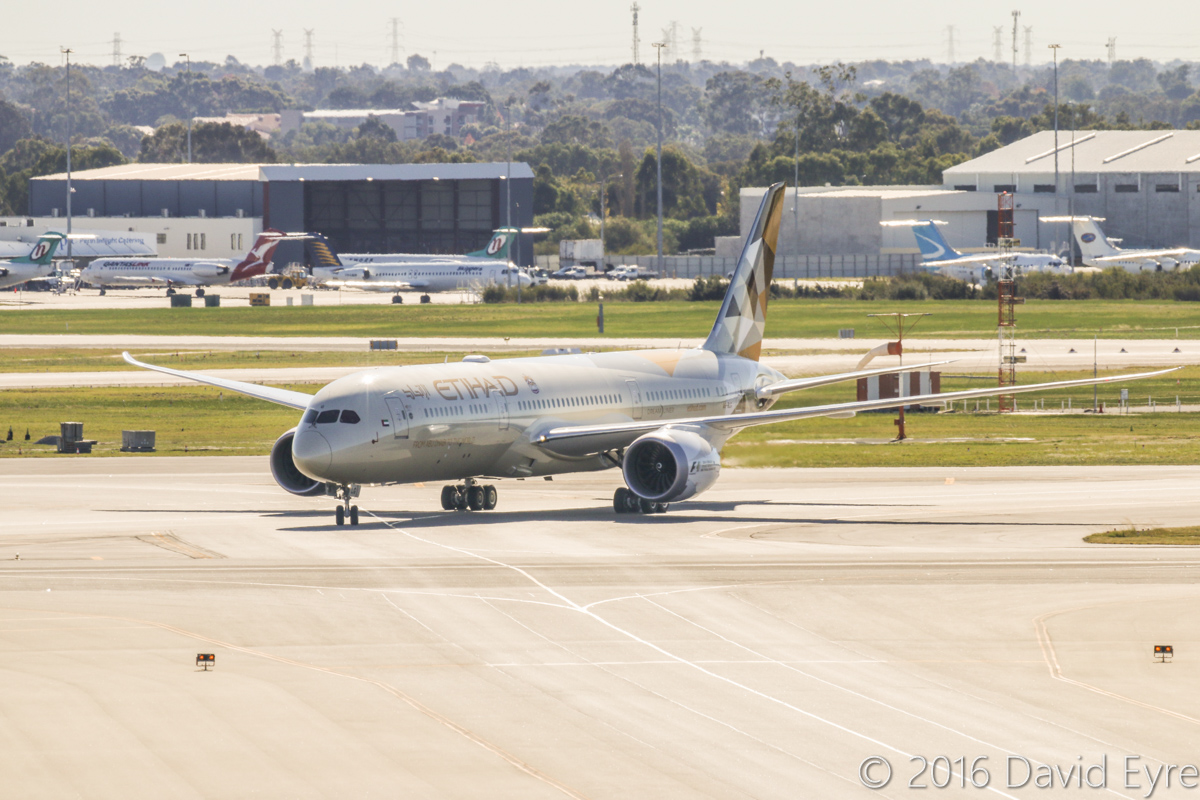 A6-BLG Boeing 787-9 Dreamliner (MSN 39652/432) of Etihad, at Perth Airport - Thu 2 June 2016. A6-BLG's first visit to Perth, and the beginning of regular Boeing 787-9 Dreamliner services to Perth by Etihad. This aircraft first flew on 8 May 2016 and was delivered on 27 May 2016, a few days before this photo. Flight EY486 from Abu Dhabi is seen taxying in on taxiway S at 1:27pm. Photo © David Eyre