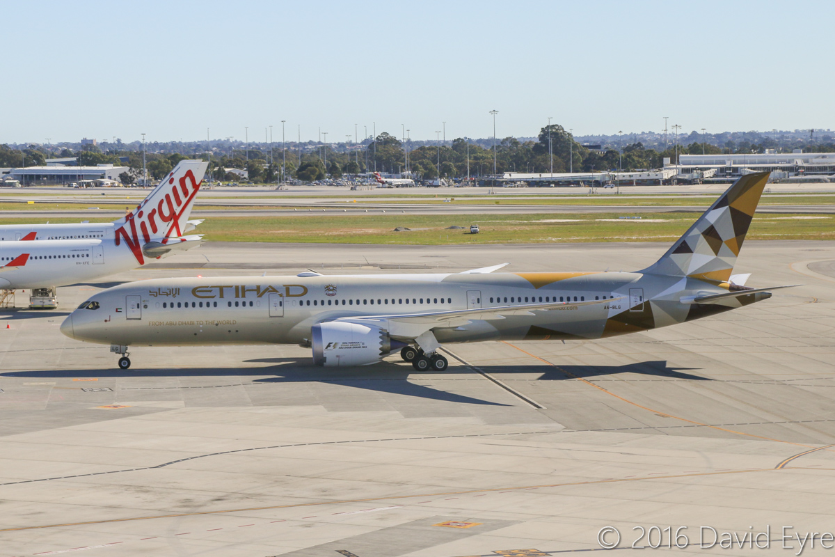 A6-BLG Boeing 787-9 Dreamliner (MSN 39652/432) of Etihad, at Perth Airport - Thu 2 June 2016. A6-BLG's first visit to Perth, and the beginning of regular Boeing 787-9 Dreamliner services to Perth by Etihad. This aircraft first flew on 8 May 2016 and was delivered on 27 May 2016, a few days before this photo. Flight EY486 from Abu Dhabi is seen taxying to Bay 150 at 1:31pm. Photo © David Eyre