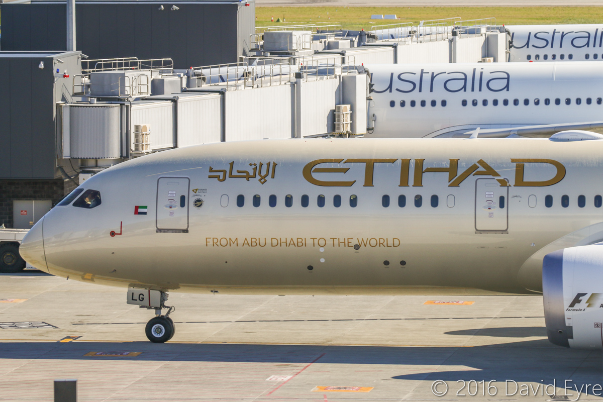 A6-BLG Boeing 787-9 Dreamliner (MSN 39652/432) of Etihad, at Perth Airport - Thu 2 June 2016. A6-BLG's first visit to Perth, and the beginning of regular Boeing 787-9 Dreamliner services to Perth by Etihad. This aircraft first flew on 8 May 2016 and was delivered on 27 May 2016, a few days before this photo. Flight EY486 from Abu Dhabi is seen taxying to Bay 150 at 1:32pm. Photo © David Eyre