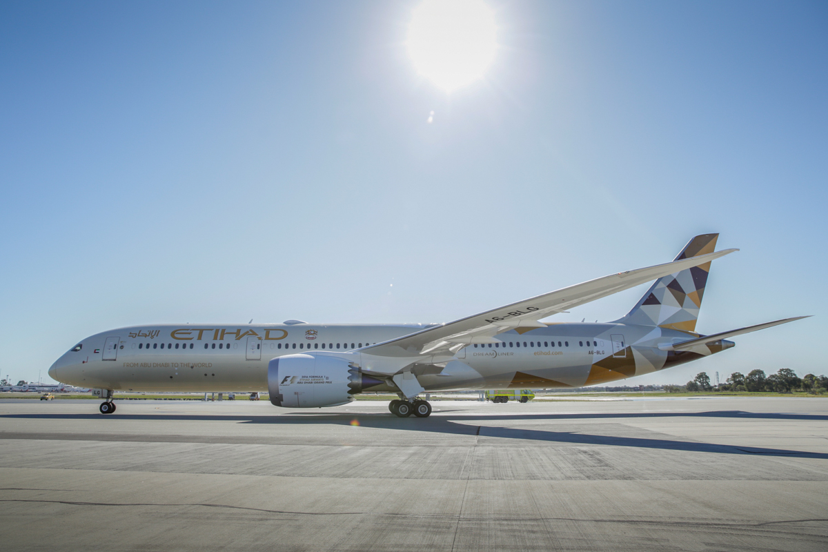 A6-BLG Boeing 787-9 Dreamliner (MSN 39652/432) of Etihad, at Perth Airport - Thu 2 June 2016. A6-BLG's first visit to Perth, and the beginning of regular Boeing 787-9 Dreamliner services to Perth by Etihad, replacing the Airbus A330-200. Flight EY486 from Abu Dhabi taxying in to park at Bay 150 at 1:31pm. Photo © Russell Barton, used with permission of Etihad Airways