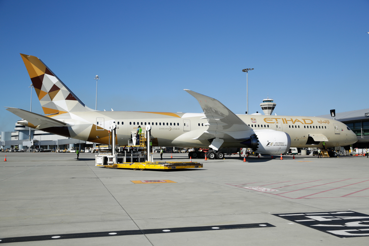 A6-BLG Boeing 787-9 Dreamliner (MSN 39652/432) of Etihad, at Perth Airport - Thu 2 June 2016. A6-BLG's first visit to Perth, and the beginning of regular Boeing 787-9 Dreamliner services to Perth by Etihad, replacing the Airbus A330-200. Flight EY486 from Abu Dhabi parked at Terminal 1, Bay 150. Photo © Russell Barton, used with permission of Etihad Airways