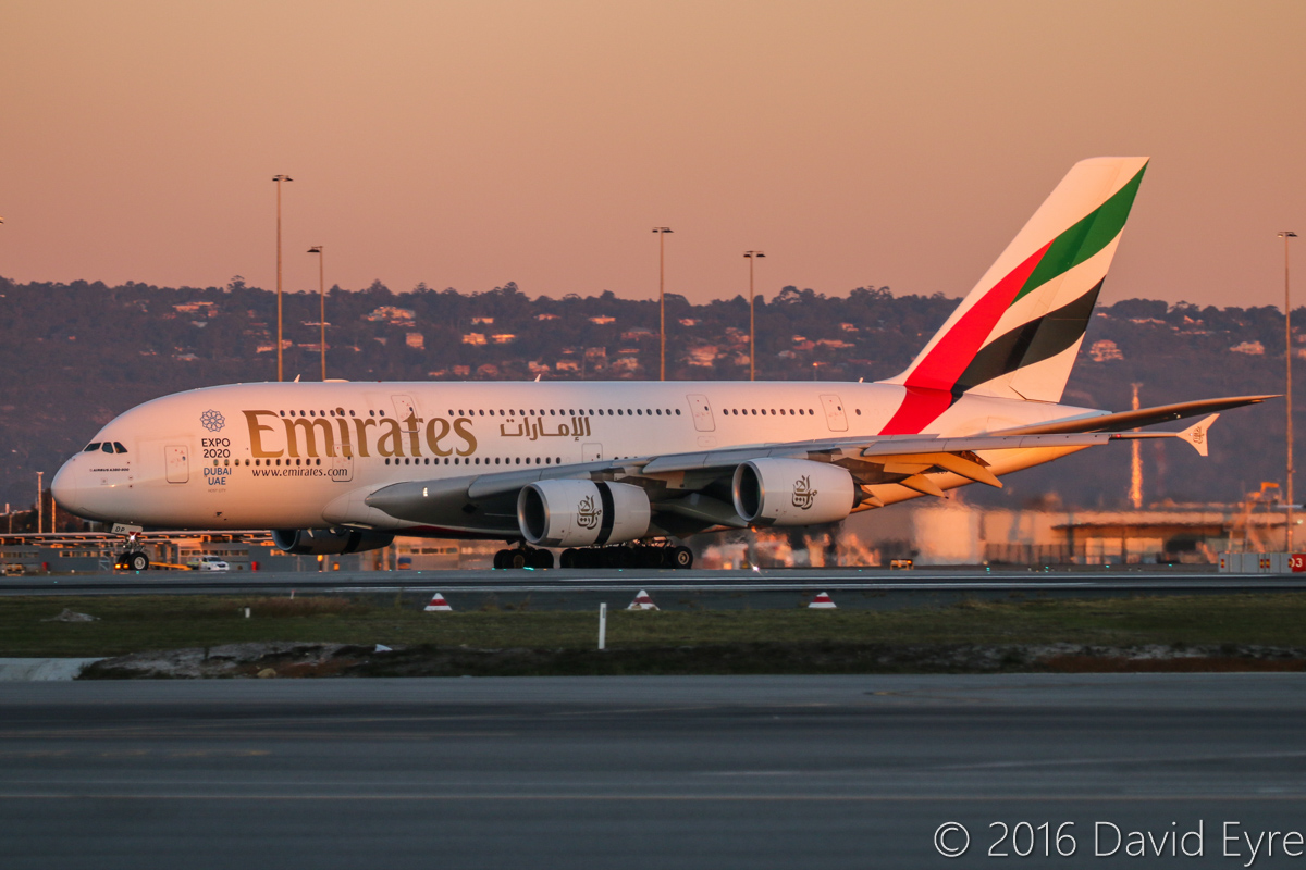 A6-EDP Airbus A380-861 (MSN 077) of Emirates at Perth Airport – Thu 2 June 2016. EK420 from Dubai, with thrust reversers and spoilers deployed, slowing down after landing on runway 03 at 5:14pm. Photo © David Eyre