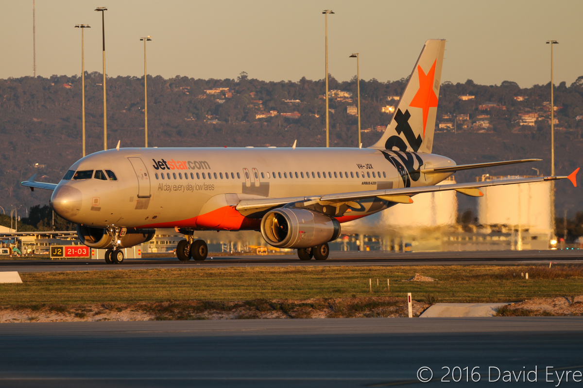 VH-JQX Airbus A320-232 (MSN 2197) of Jetstar, at Perth Airport - Thu 2 June 2016. Nicknamed 'Patches' because of its patchy paint scheme. Flight JQ974 from Adelaide, taxying in after landing on runway 03 at 5:05pm. Photo © David Eyre