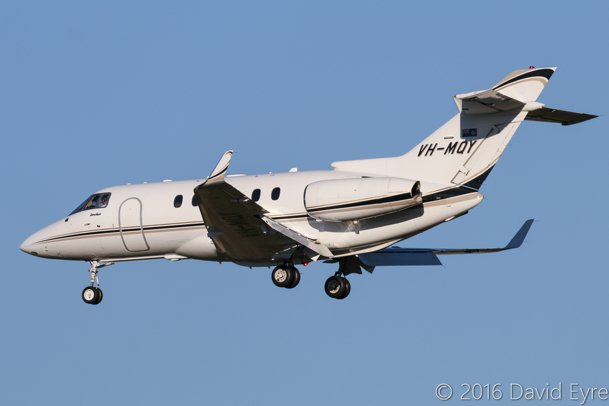VH-MQY Raytheon Hawker 850XP (MSN 258807) of Maroomba Airlines (Nantay Pty Ltd), which is operated for the Government of Western Australia, at Perth Airport - Thu 2 June 2016. Landing on runway 06 at 4:09pm, arriving from Boolgeeda (Brockman 4 Iron Ore Mine). Photo © David Eyre