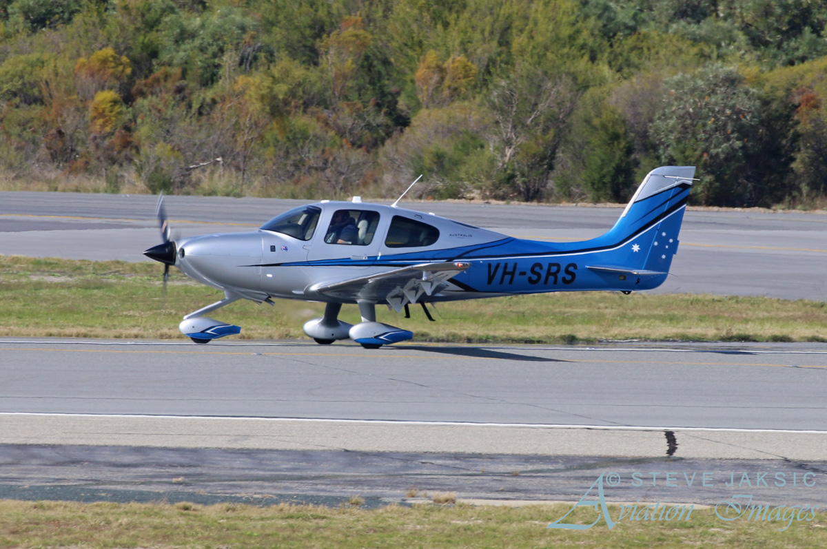 VH-SRS Cirrus SR22 Generation 5 Australis (MSN 4307) owned by Cirrus Perth Pty Ltd, at Perth Airport - Sun 5 June 2016. Taking off from runway 03 for a flight back to its base at nearby Jandakot Airport. Photo © Steve Jaksic