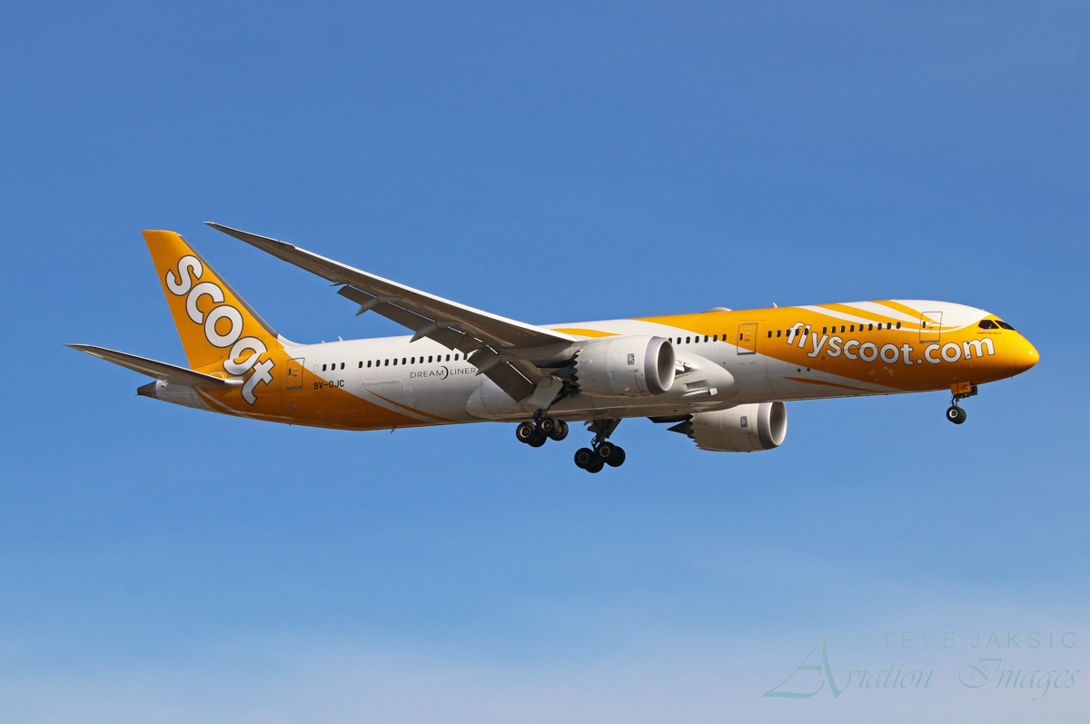 9V-OJC Boeing 787-9 Dreamliner (MSN 37114/284) of Scoot, named 'Inspiring Spirit', at Perth Airport - Sat 11 June 2016. Flight TZ1D on final approach to runway 03 at 10:11am. The aircraft suffered a fuel leak problem in Sydney and made a fuel stop in Perth en route from Sydney back to Singapore. Photo © Steve Jaksic