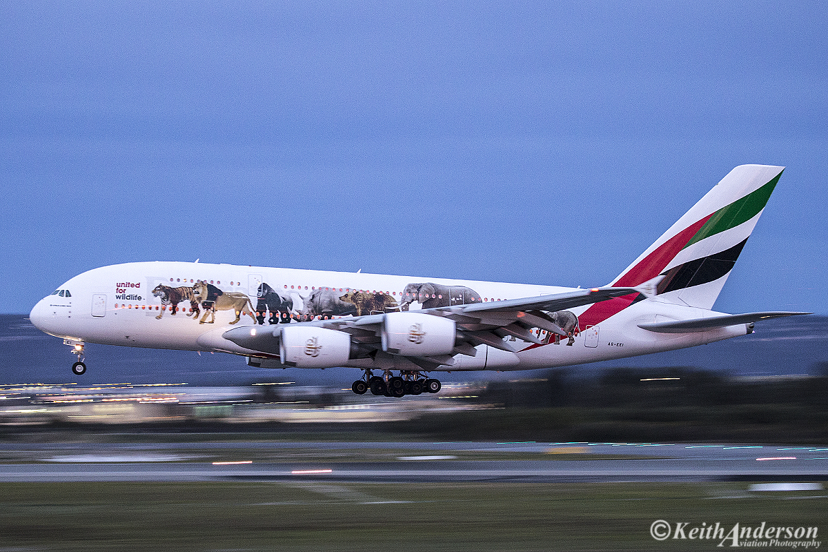 A6-EEI Airbus A380-861 (MSN 123) of Emirates at Perth Airport – 11 June 2016.