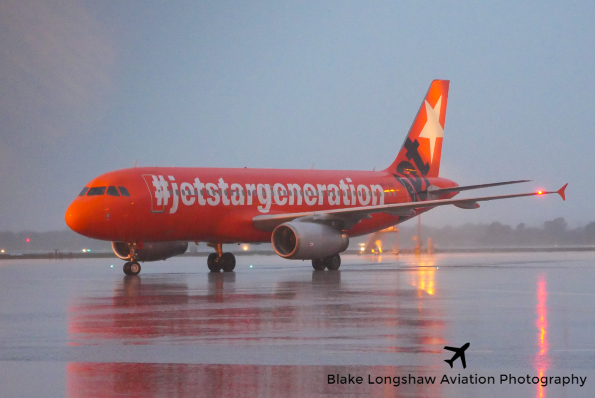 """VH-VGF Airbus A320-232 (MSN 4497) of Jetstar, in 10th anniversary livery, at Perth Airport – Sun 12 June 2016. Known unofficially as """"The Jaffa"""", after an orange-coloured chocolate candy. To celebrate its 10th anniversary, Jetstar painted this aircraft in all-over orange livery at Seletar in Singapore, with 'Low fares forever' titles on the right side and '#jetstargeneration' titles on the left side. JQ974 from Adelaide, taxying in at 5:22 pm. Photo © Blake Longshaw"""