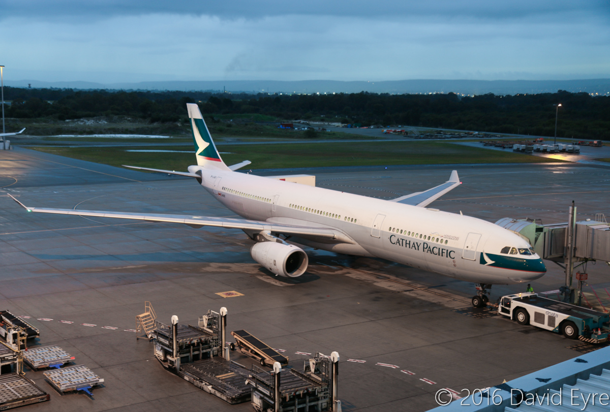 B-LAD Airbus A330-343X (MSN 776) of Cathay Pacific at Perth Airport - Mon 20 June 2016. Parked at Bay 155 at 7:03am, a few minutes before its 7:10am push back and start, as CX136 back to Hong Kong. Photo © David Eyre
