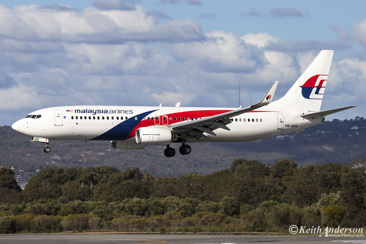 9M-MSE Boeing 737-8H6 (WL) (MSN 40147) of Malaysia Airlines at Perth Airport – 26 June 2016.
