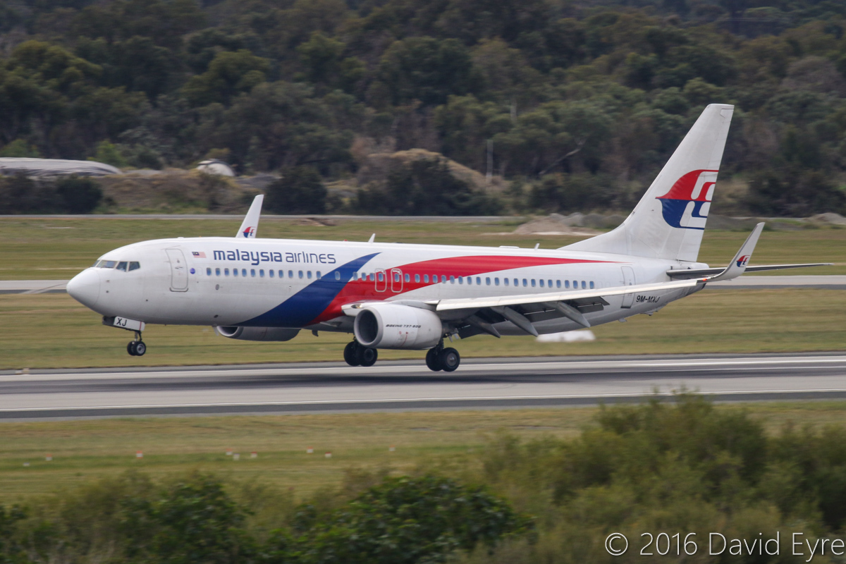 9M-MXJ Boeing 737-8H6 (MSN 40137/4131) of Malaysia Airlines, at Perth Airport - Sun 3 July 2016. Flight MH121 from Kota Kinabalu, landing on runway 24 at 2:10pm. Photo © David Eyre
