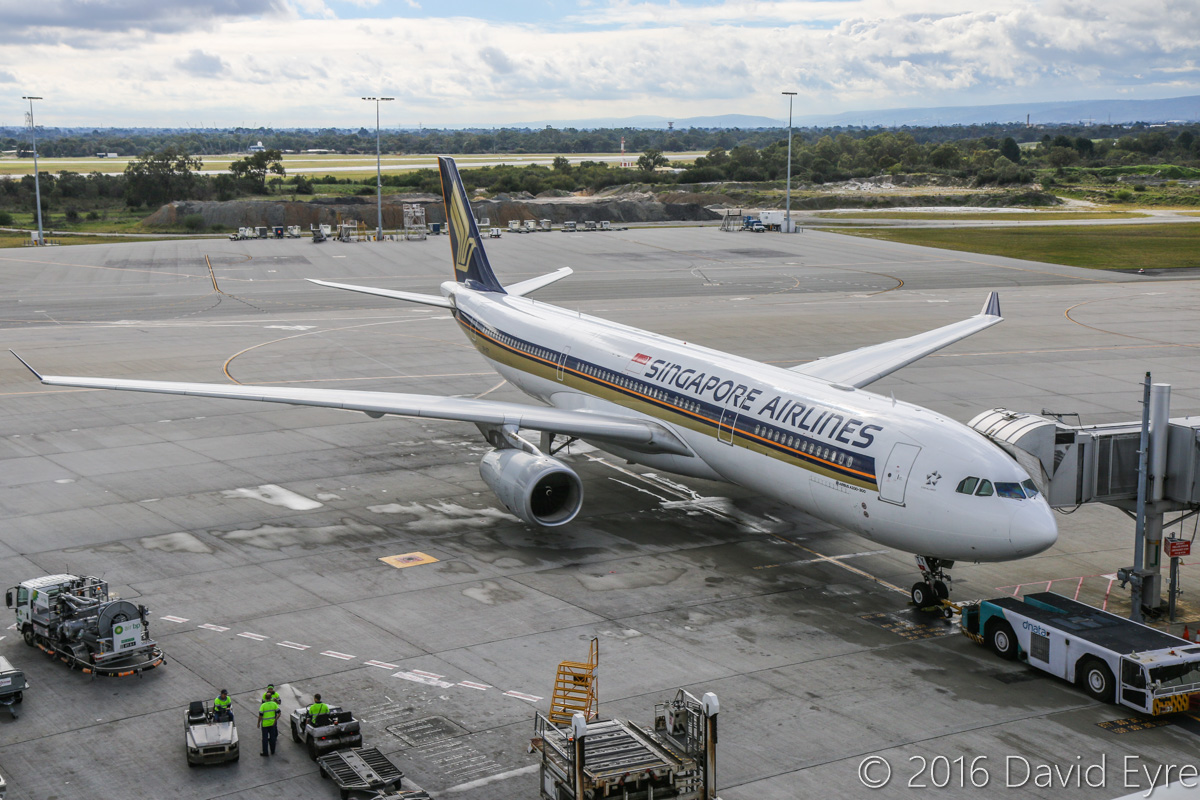 9V-STY Airbus A330-343X (MSN 1453) of Singapore Airlines at Perth Airport – Sun 3 July 2016. This aircraft was supposed to depart at 6:25am as SQ224 to Singapore, but suffered a technical problem and had to stay overnight in Perth. It is seen here parked at Bay 154, but was later towed to Bay 162. A replacement A330, 9V-SSB, arrived empty from Singapore as SQ8850 at 10:36pm, and departed as SQ224 at 12:02am on 4 July 2016. 9V-STY was repaired and departed empty to Singapore as SQ8860 at 1:37pm on 4 July 2016. Photo © David Eyre