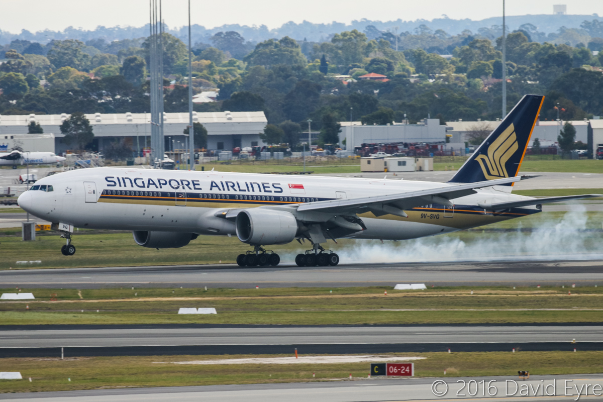 9V-SVG Boeing 777-212ER (MSN 30872/398) of Singapore Airlines at Perth Airport – Sun 3 July 2016. From 1 July 2016, Singapore Airlines SQ213/SQ226 services began to be operated by 777-200ER aircraft fitted with the Diamond J class seats (also used in their 777-300ER and A380) in a 1-2-1 configuration. SQ213 from Singapore is landing on runway 21 at 12:49pm. This aircraft was previously leased to Royal Brunei from June 2010 to Dec 2013 as V8-BLB. Photo © David Eyre