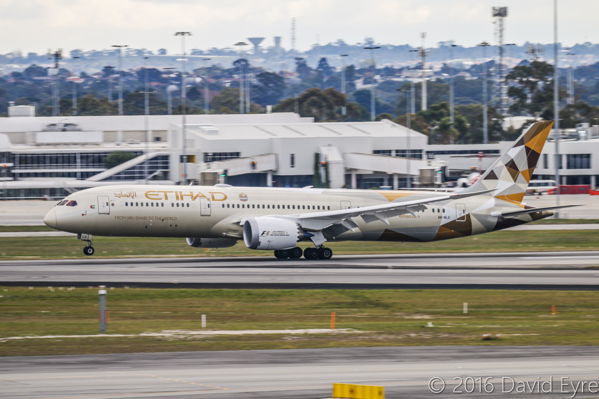 A6-BLG Boeing 787-9 Dreamliner (MSN 39652/432) of Etihad, at Perth Airport - Sun 3 July 2016. Flight EY486 from Abu Dhabi, landing on runway 21 at 2:00pm. Photo © David Eyre