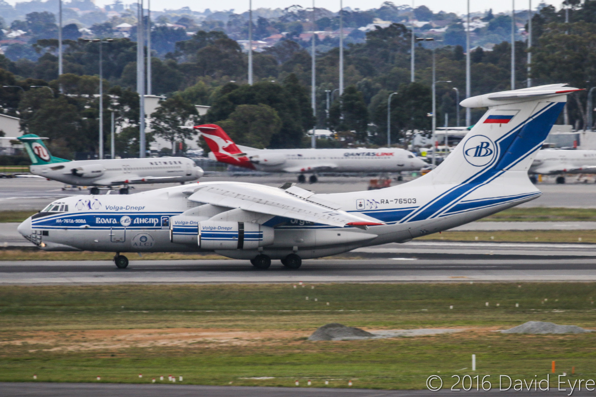 RA-76503 Ilyushin Il-76TD-90VD (MSN 2113422748 / 94-07) of Volga-Dnepr Airlines at Perth Airport – Sun 3 July 2016. Wears Antarctic Logistics Centre International logo and penguins, and 25 Years logo. Landing on runway 21 at 1:16pm as flight VI4900 from Jakarta-Halim. RA-76503 was originally rolled out of the factory in Tashkent, Uzbekistan, on 30 September 2011, and made its first flight on 15 October 2011. It first visited Perth in May and July 2013. Photo © David Eyre
