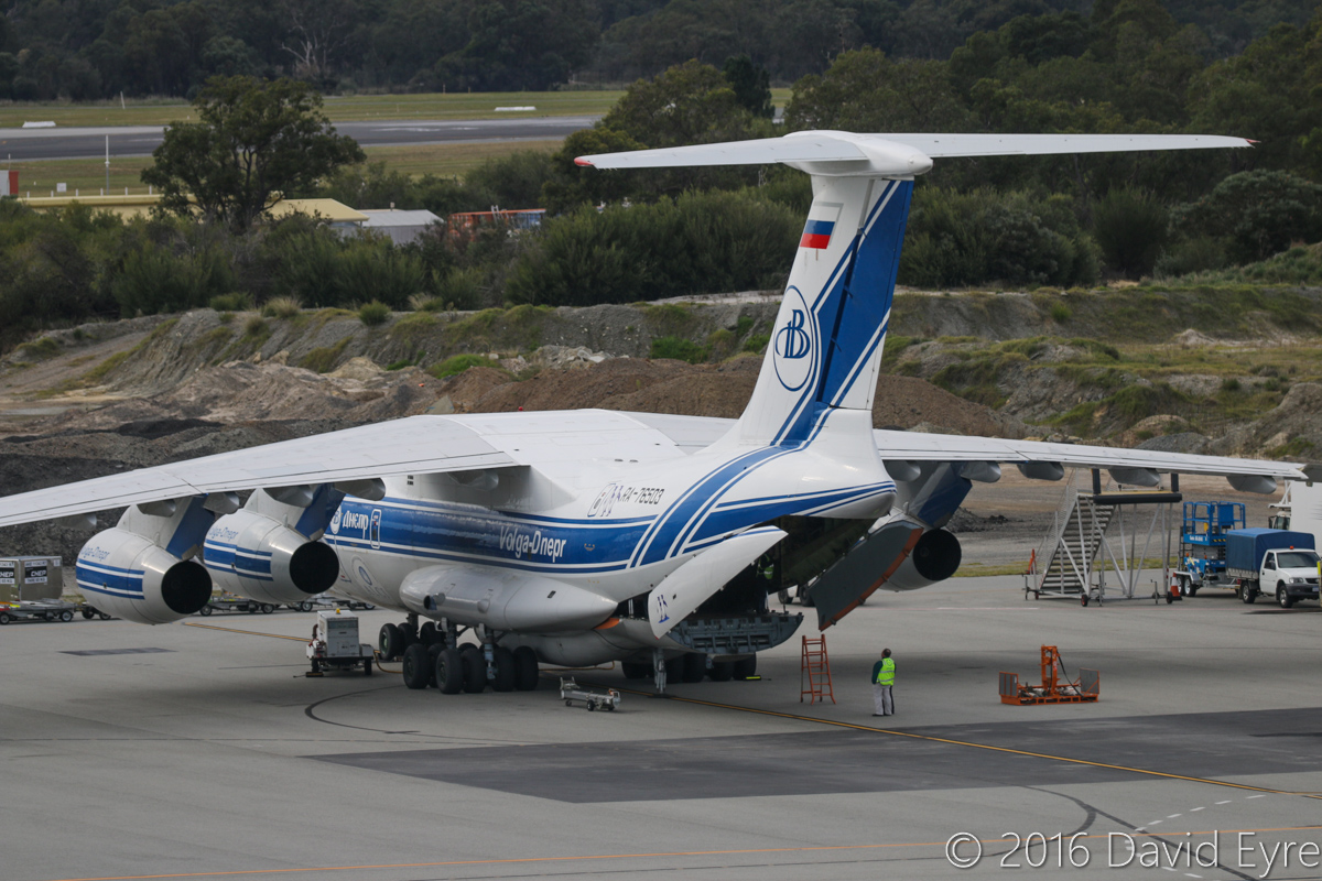 RA-76503 Ilyushin Il-76TD-90VD (MSN 2113422748 / 94-07) of Volga-Dnepr Airlines at Perth Airport – Sun 3 July 2016. Wears Antarctic Logistics Centre International logo and penguins, and 25 Years logo. Parked at Bay 160, opposite Terminal 1 International at 2:27pm, preparing to unload its cargo. It arrived at 1:16pm as flight VI4900 from Jakarta-Halim. RA-76503 was originally rolled out of the factory in Tashkent, Uzbekistan, on 30 September 2011, and made its first flight on 15 October 2011. It first visited Perth in May and July 2013. Photo © David Eyre